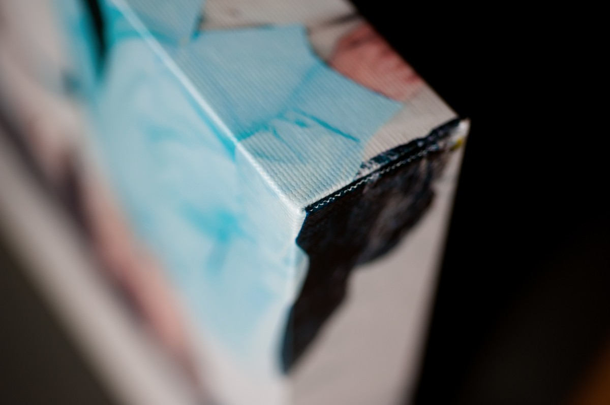 closeup of a canvas gallery wrap