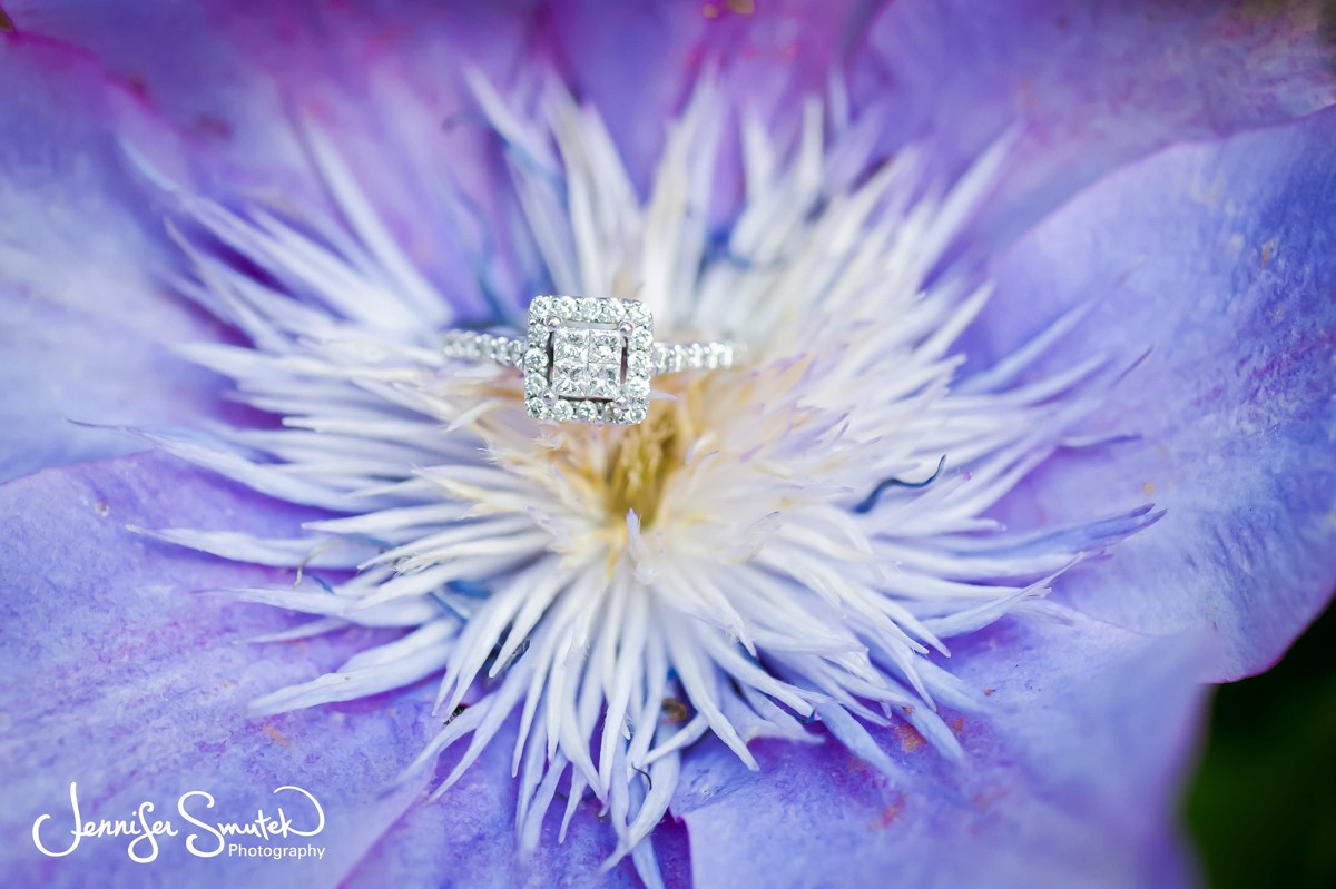 engagement ring on purple flower