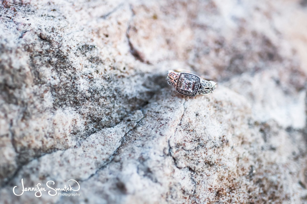 engagement ring on stone