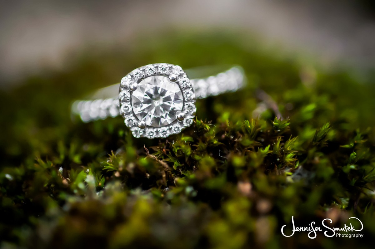 Wedding ring on moss