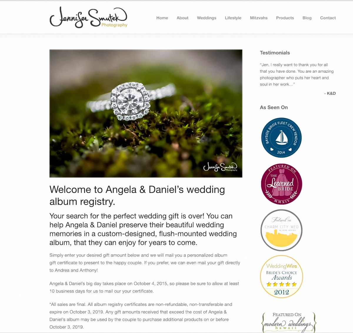wedding album registry