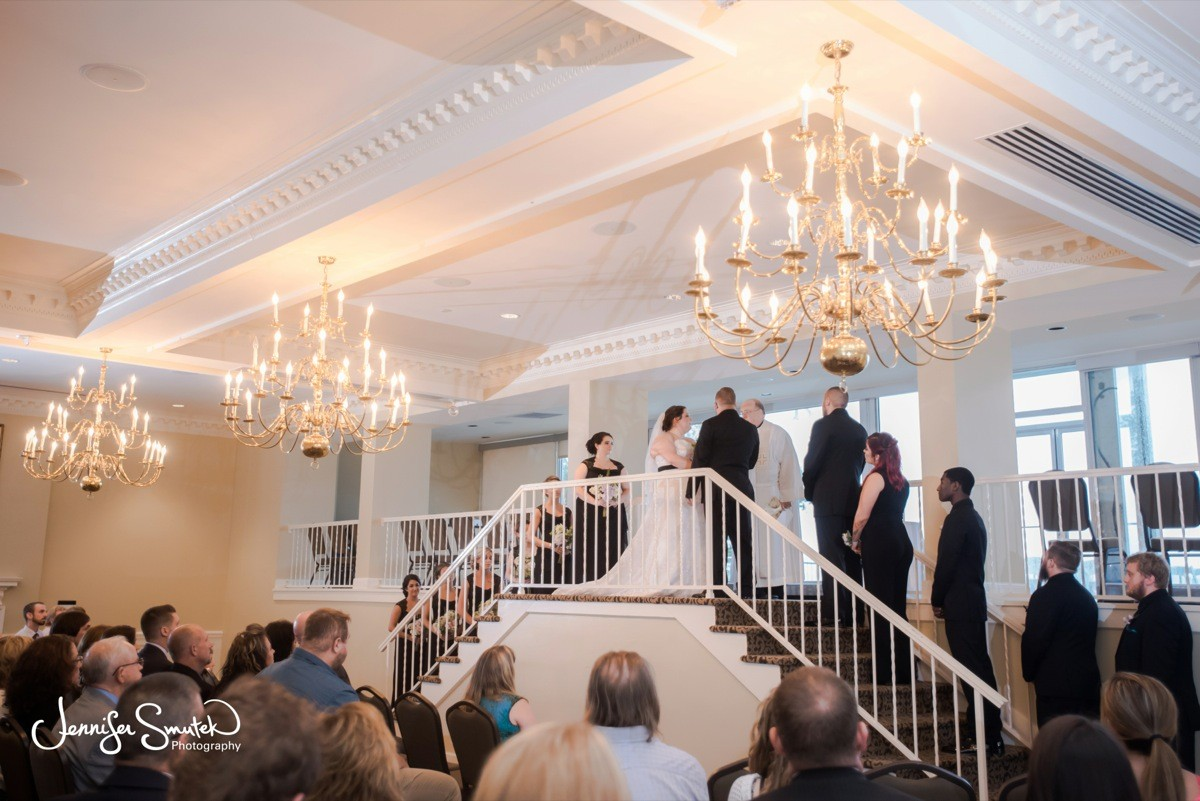 Indoor Wedding Ceremony At Top Of The Bay