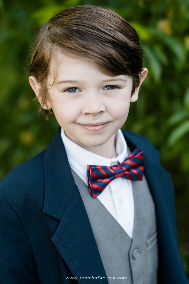 red and navy bow tie