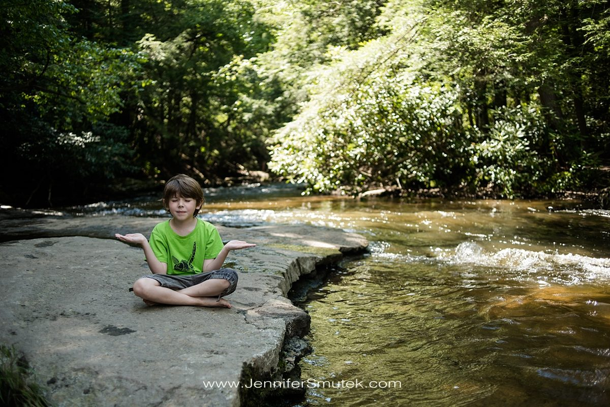 boy meditating swallow falls