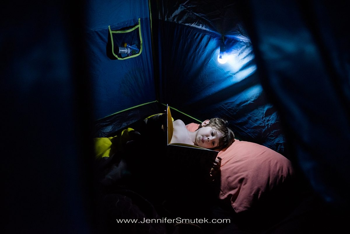 reading a book camping
