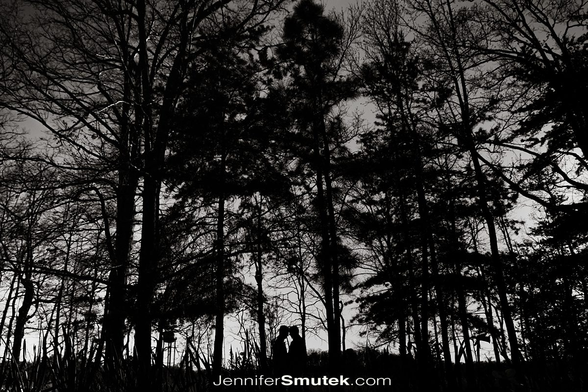 black and white silhouette of trees and people