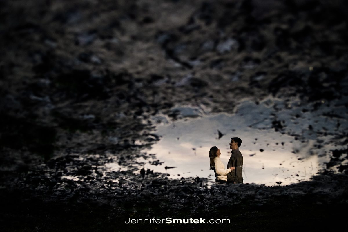 reflection in puddle engagement session