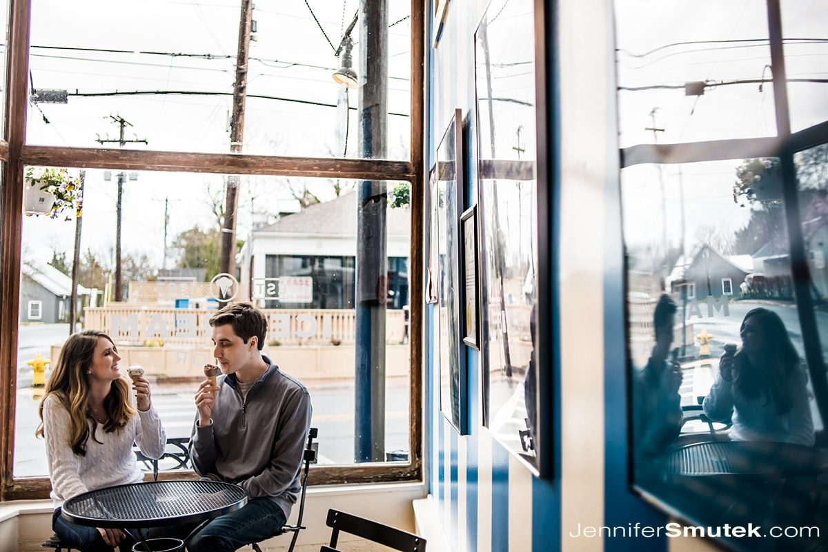 justine's ice cream shop engagement session