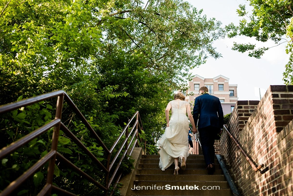 bride and groom walking in dc