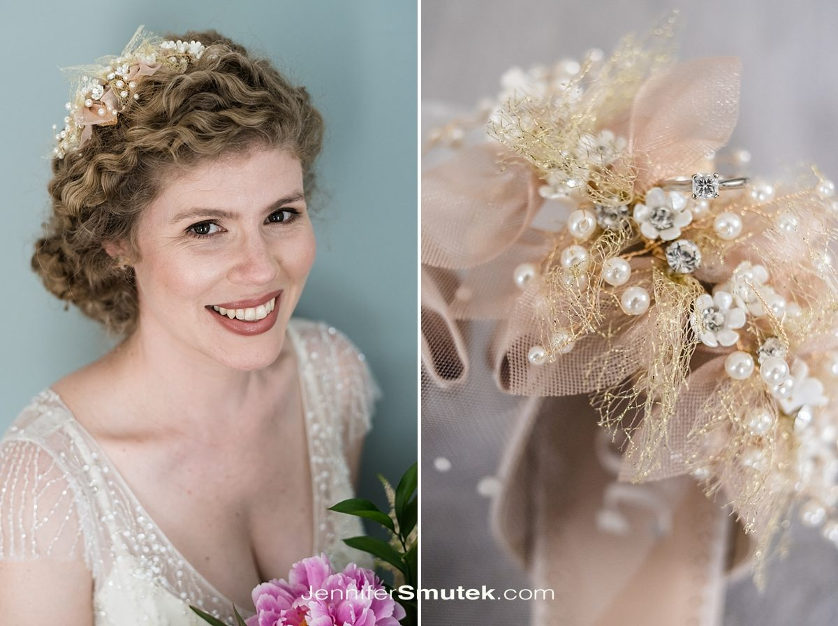 bride with blush bridal details