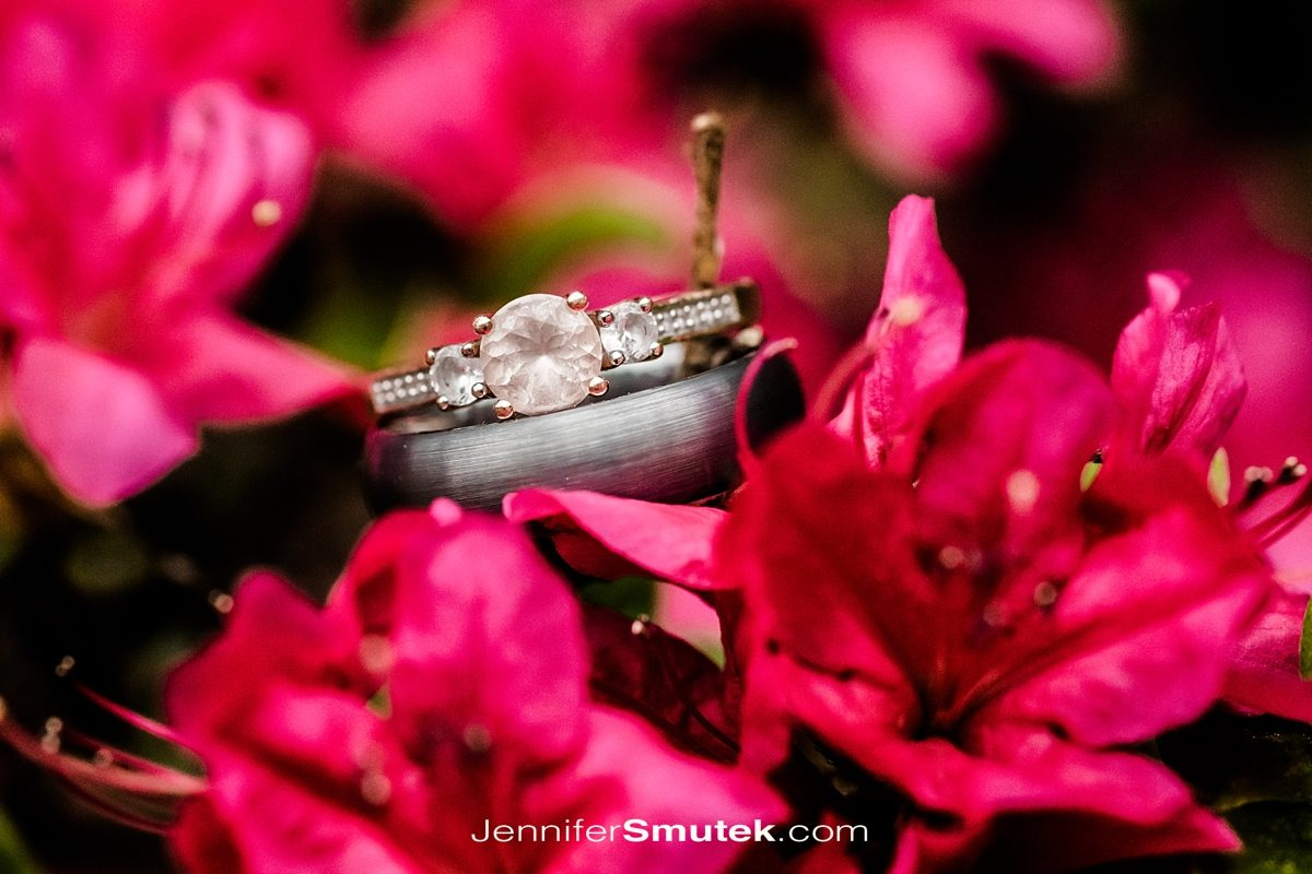 engagement ring with pink flowers
