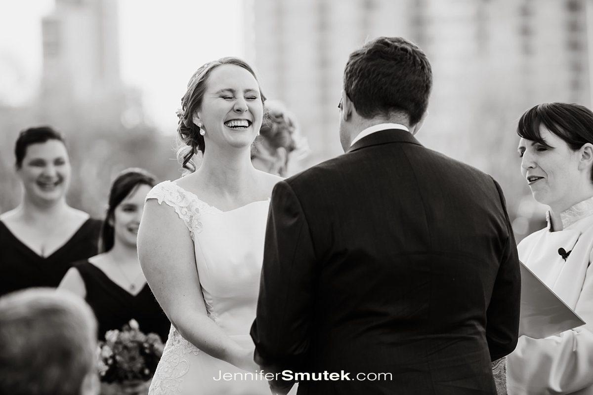 bride laughing during wedding in baltimore