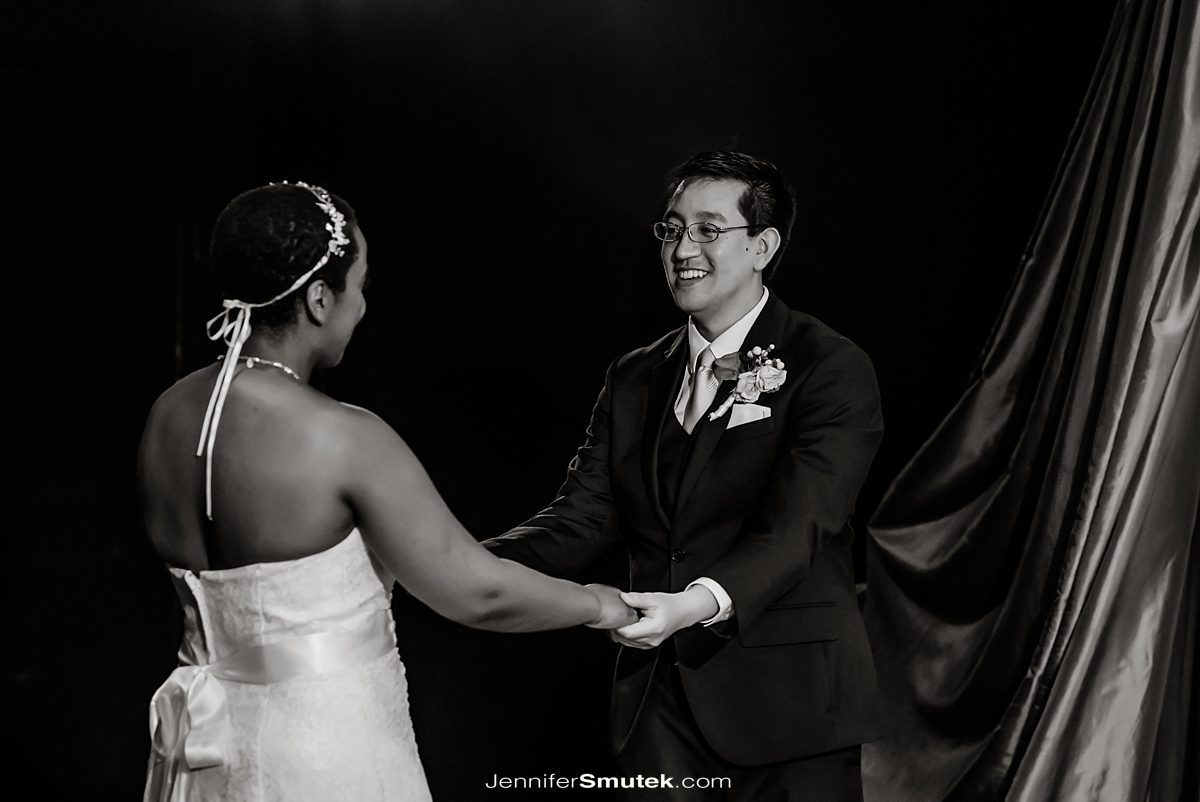 couples' first dance at busboys and poets wedding dc