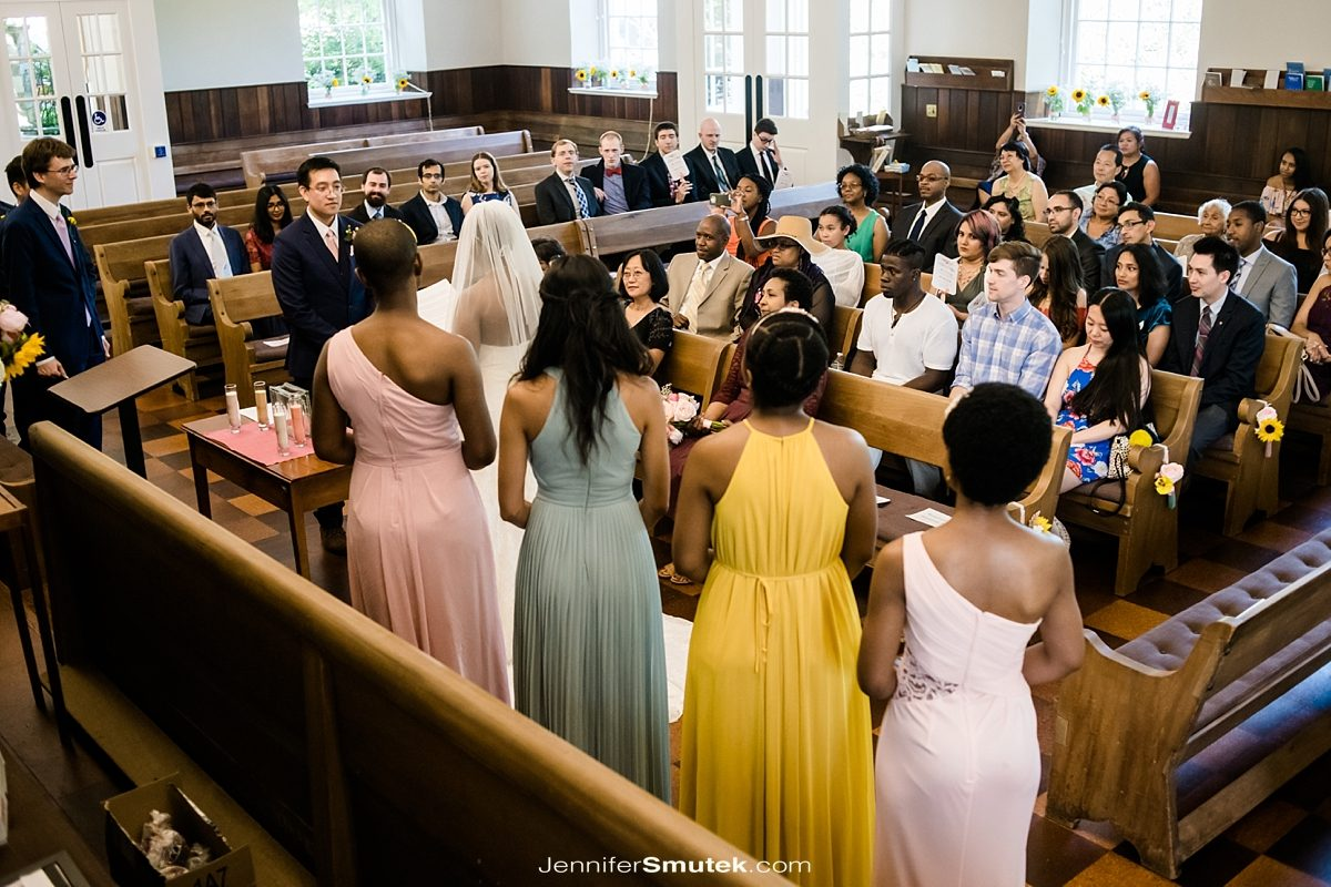guests at the friends meeting house of dc wedding ceremony