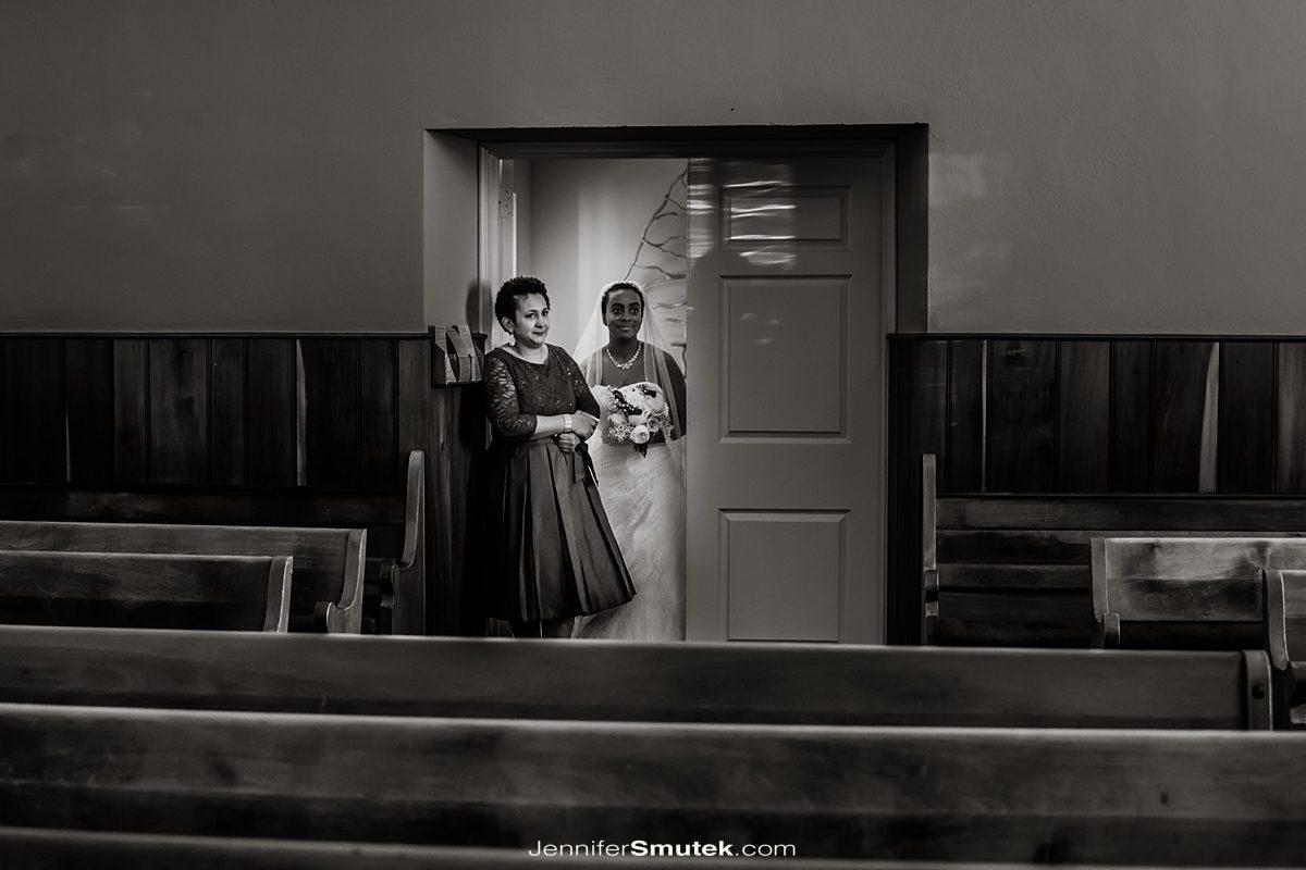 Friends Meeting House of DC Wedding bride walking down aisle