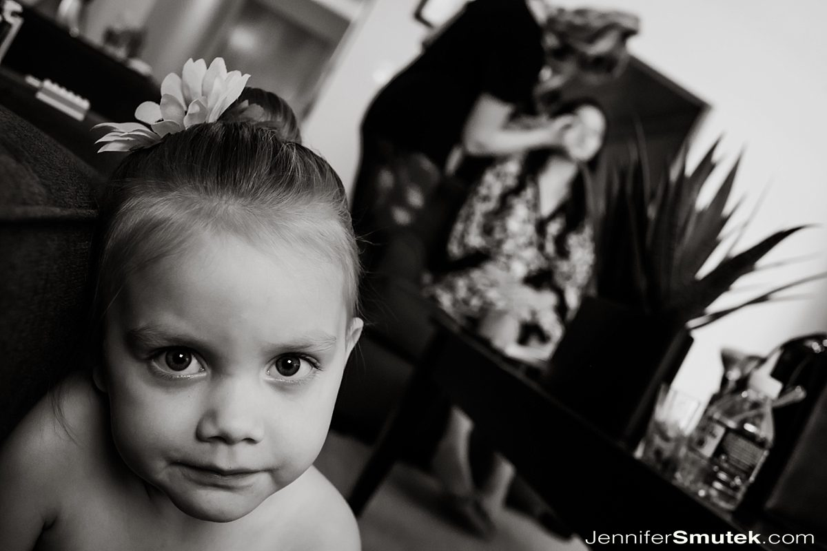 flower girl getting ready at wedding in baltimore