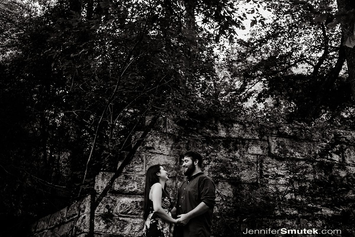black and white photo of Patapsco State Park Engagement Session