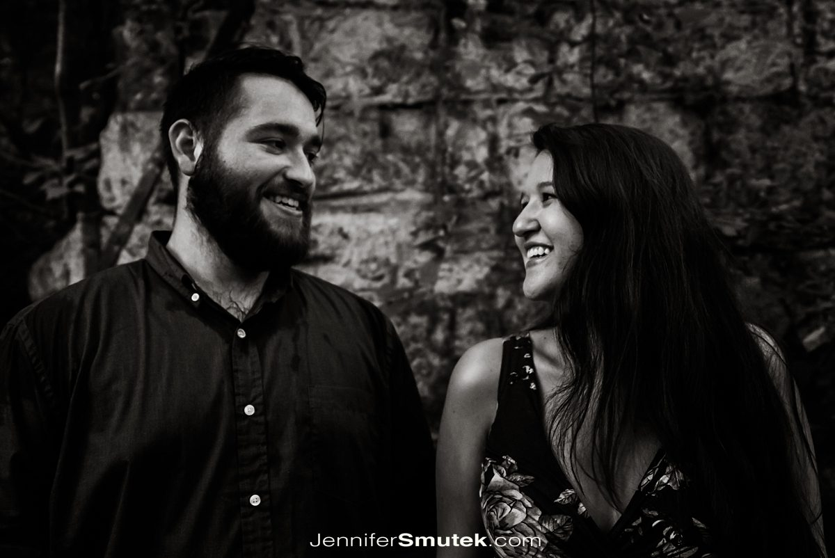 black and white tilt shift engagement photo