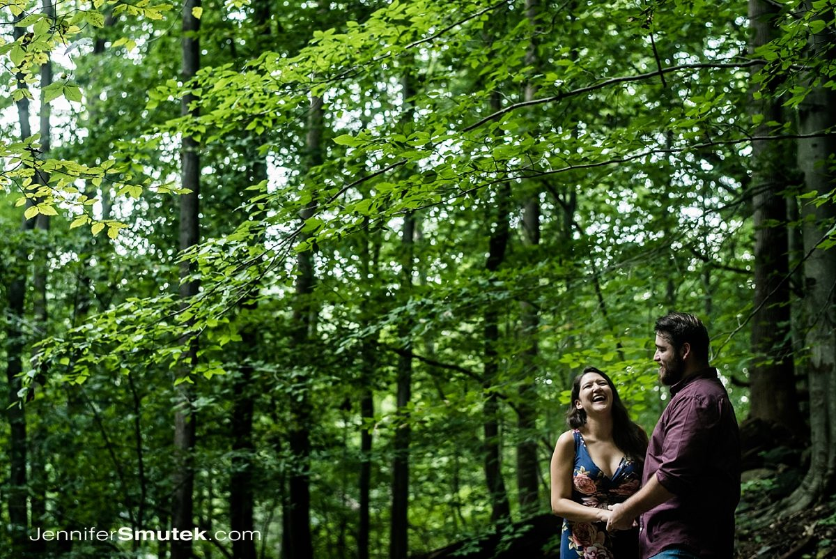 couple laughing at Patapsco State Park Engagement Session