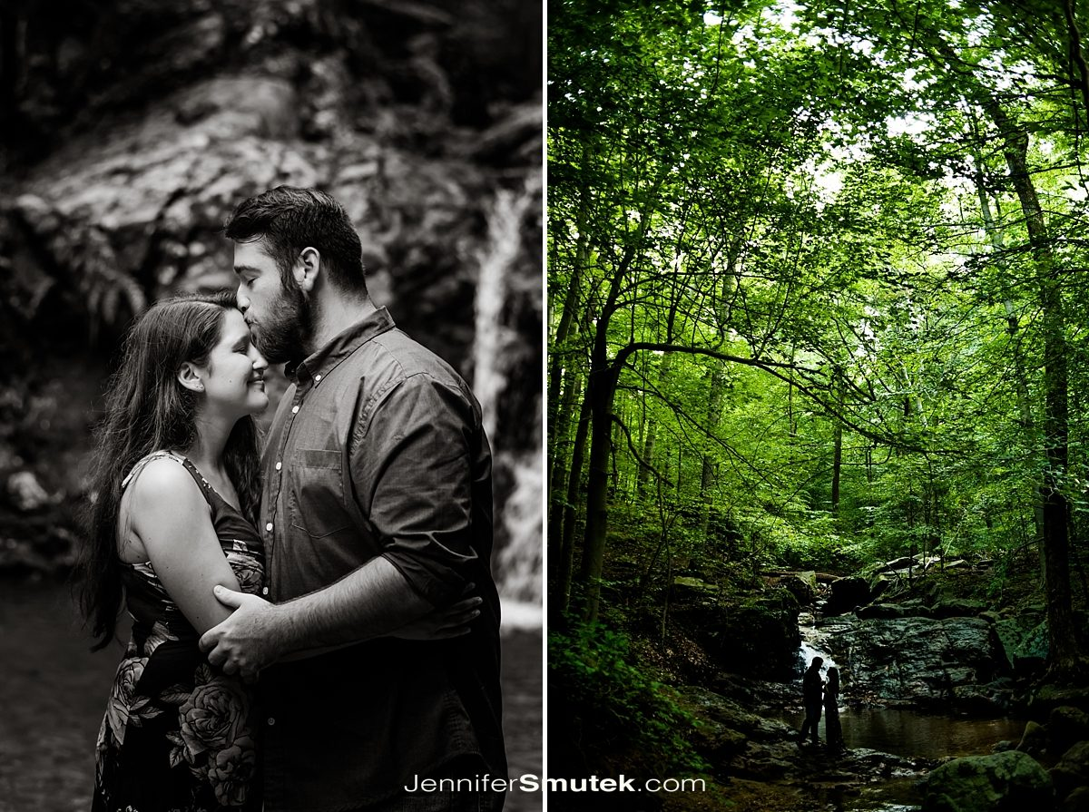 couple in front of waterfall at Patapsco State Park Engagement Session
