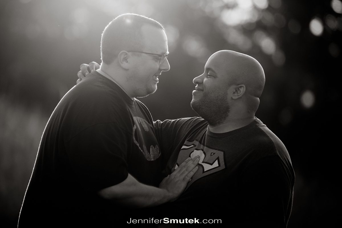 black and white photo of two grooms on their engagement session