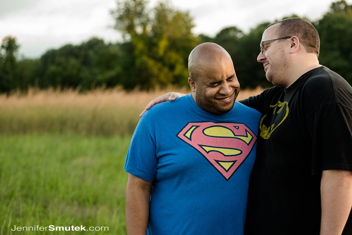 two grooms wearing super hero shirts at Soldiers Delight Engagement Session