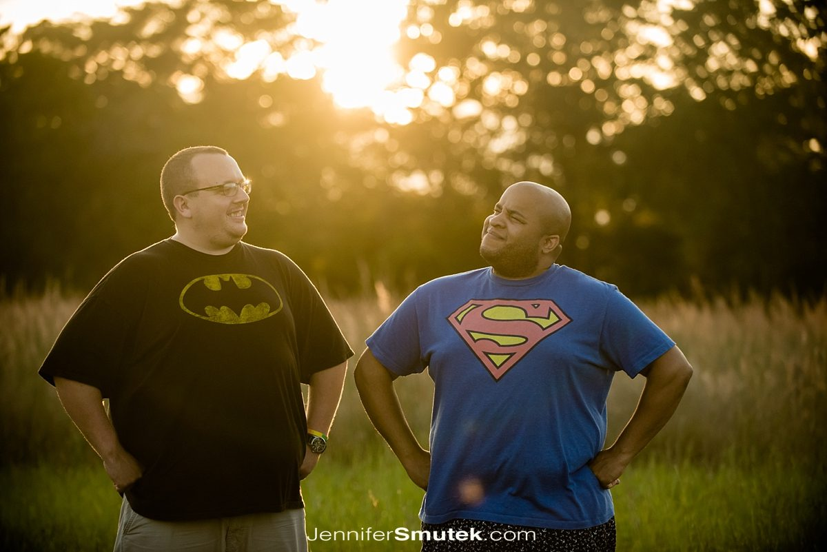 two grooms wearing super hero shirts