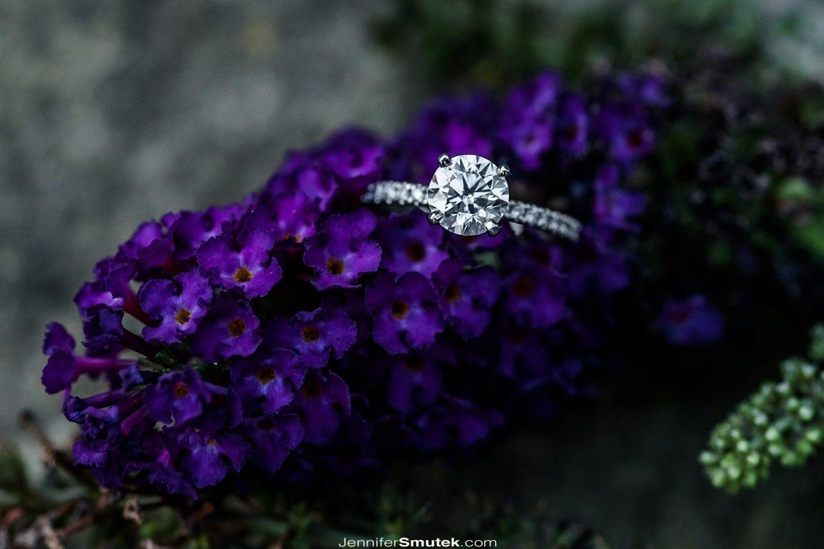 engagement ring on lavendar