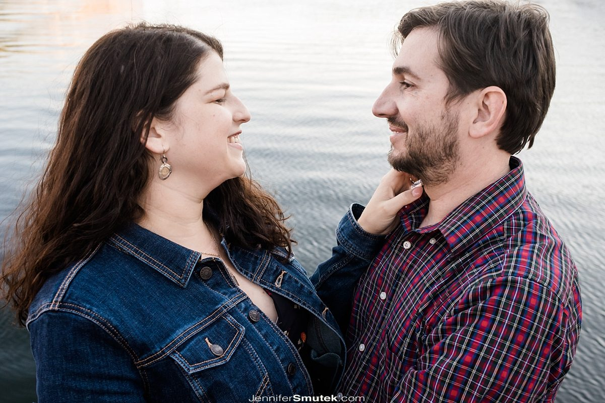 fells point engagement session couple on water
