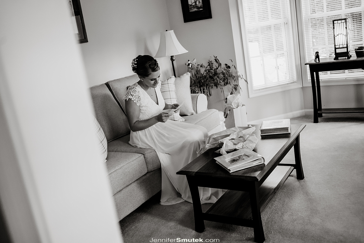 bride reading a love letter
