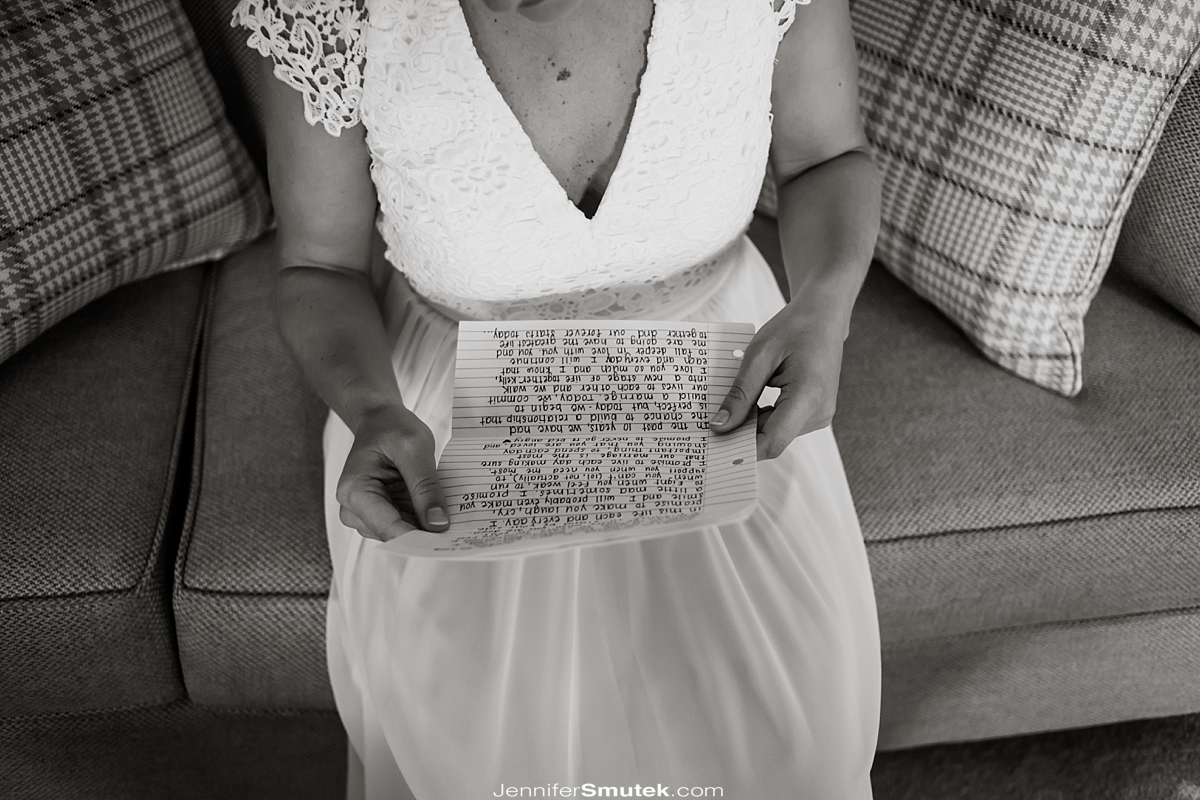 close up of bride reading a love letter