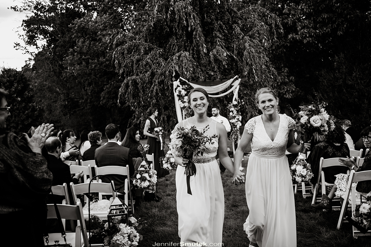 brides exiting same sex wedding maryland