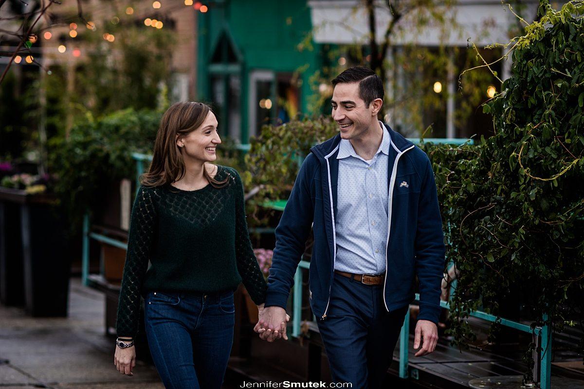 couple walking DC Engagement photos