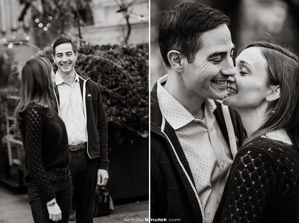 black and white photos of couple laughing DC Engagement photos