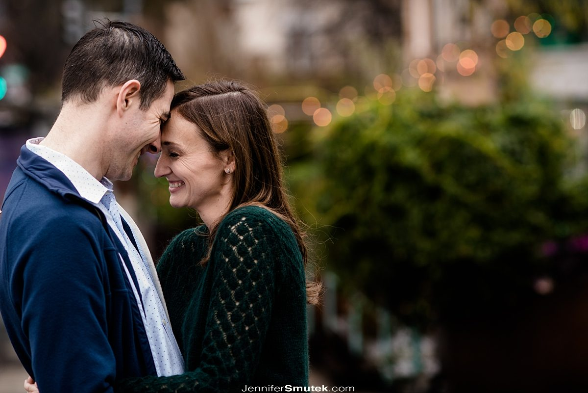 couple touching and laughing DC Engagement photos