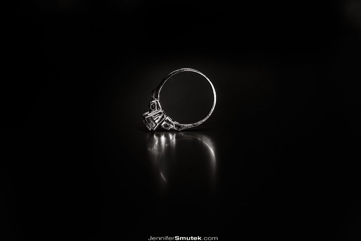 black and white photo of ring