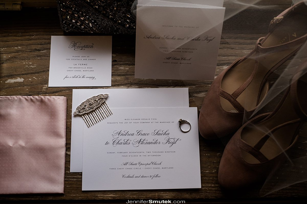 blush bridal details