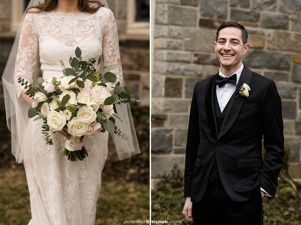 groom and close up image of bridal flowers