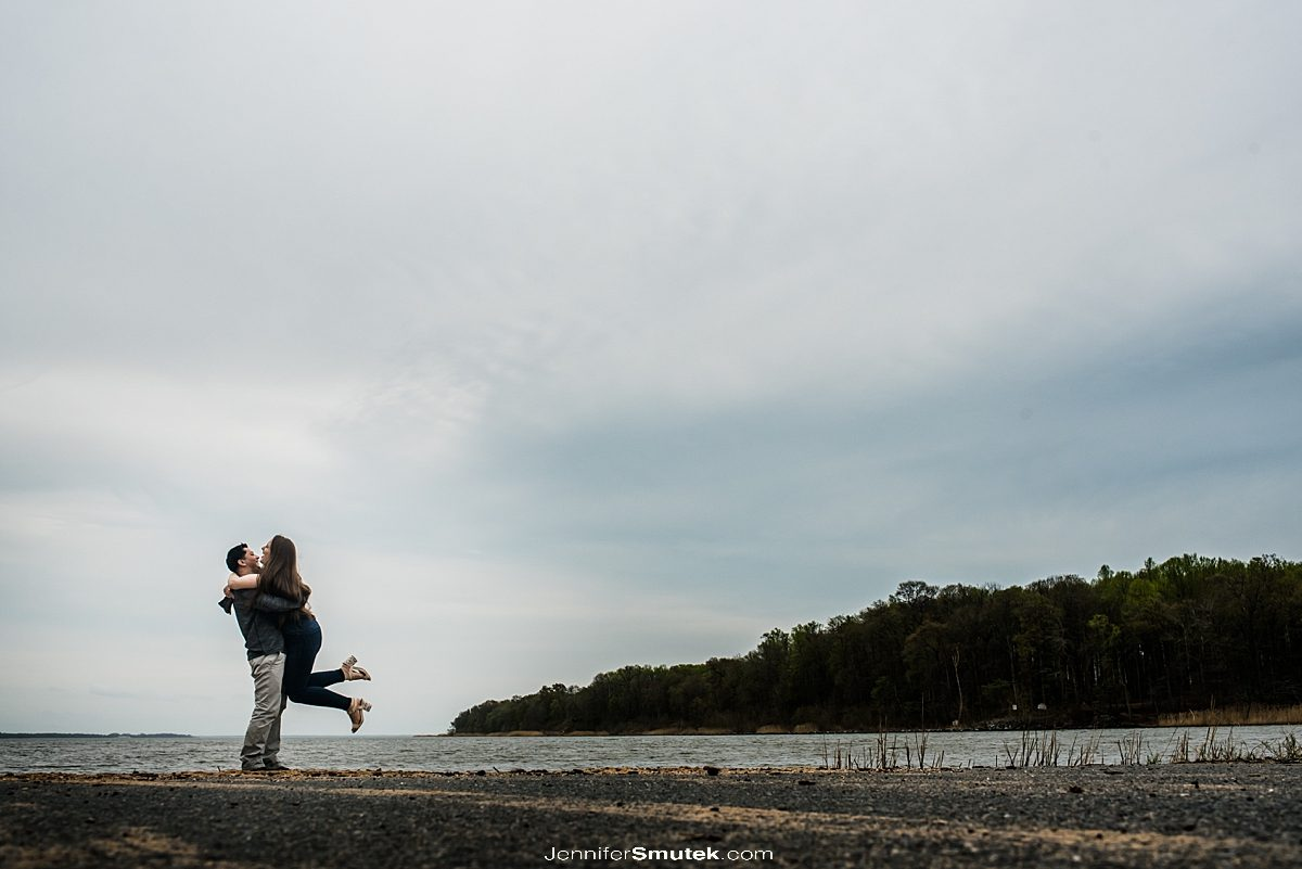 couple spinning on their Gunpowder engagement session