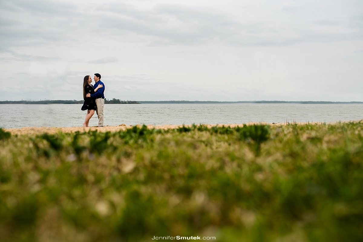 couple on the beach engagement photos in maryland