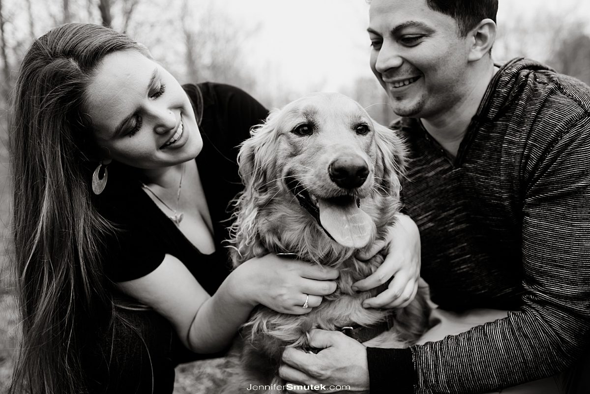 dog at engagement session baltimore