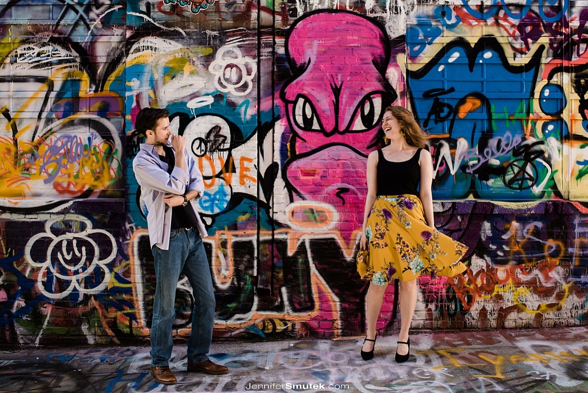 graffiti alley baltimore engagement session
