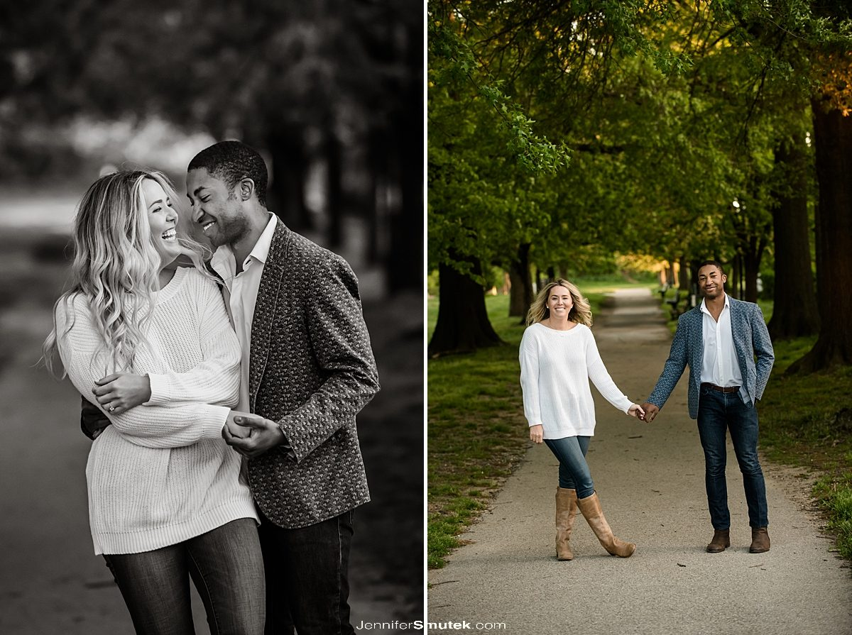 photos of couple laughing in a south baltimore park