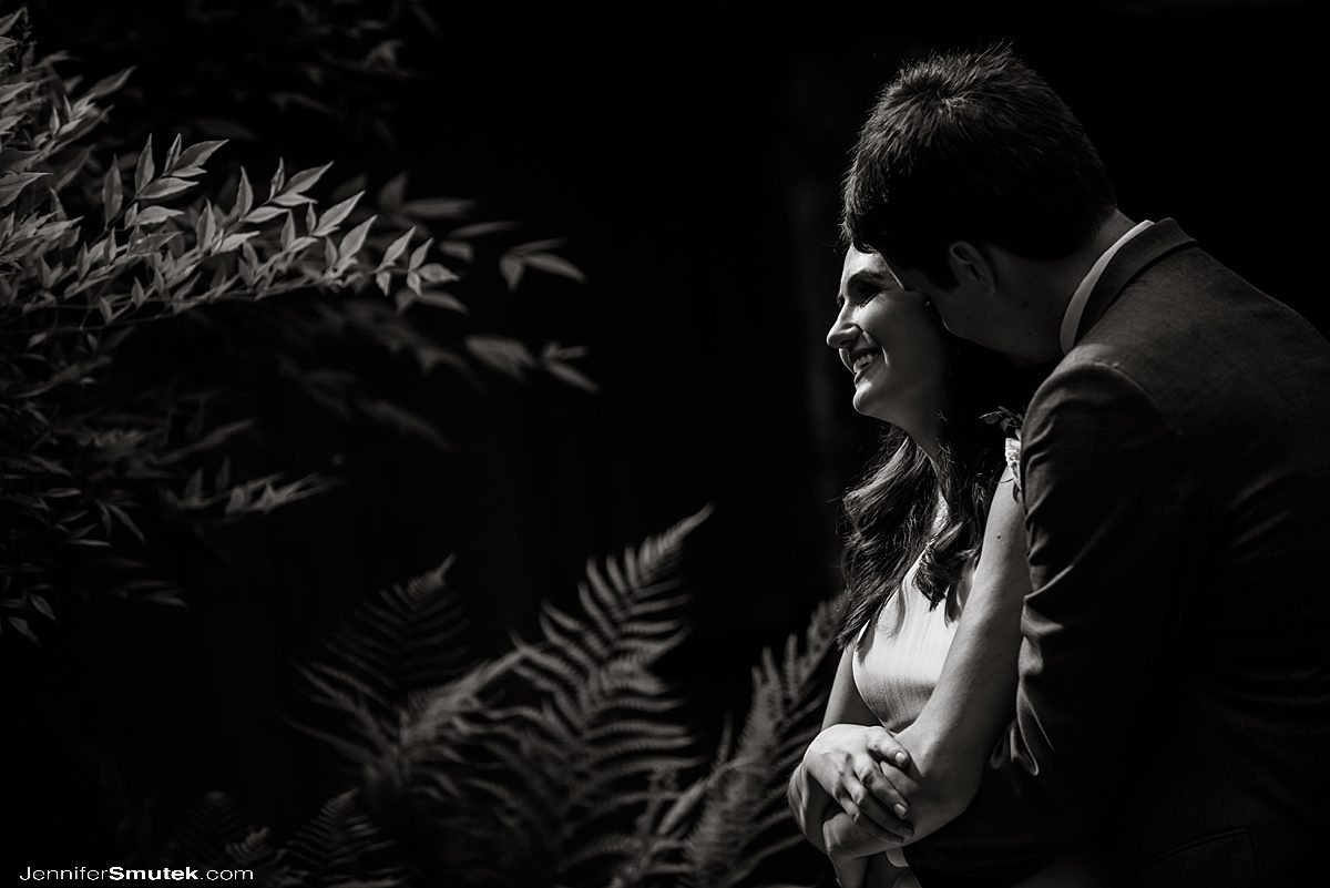 dramatic lighting on bride and groom