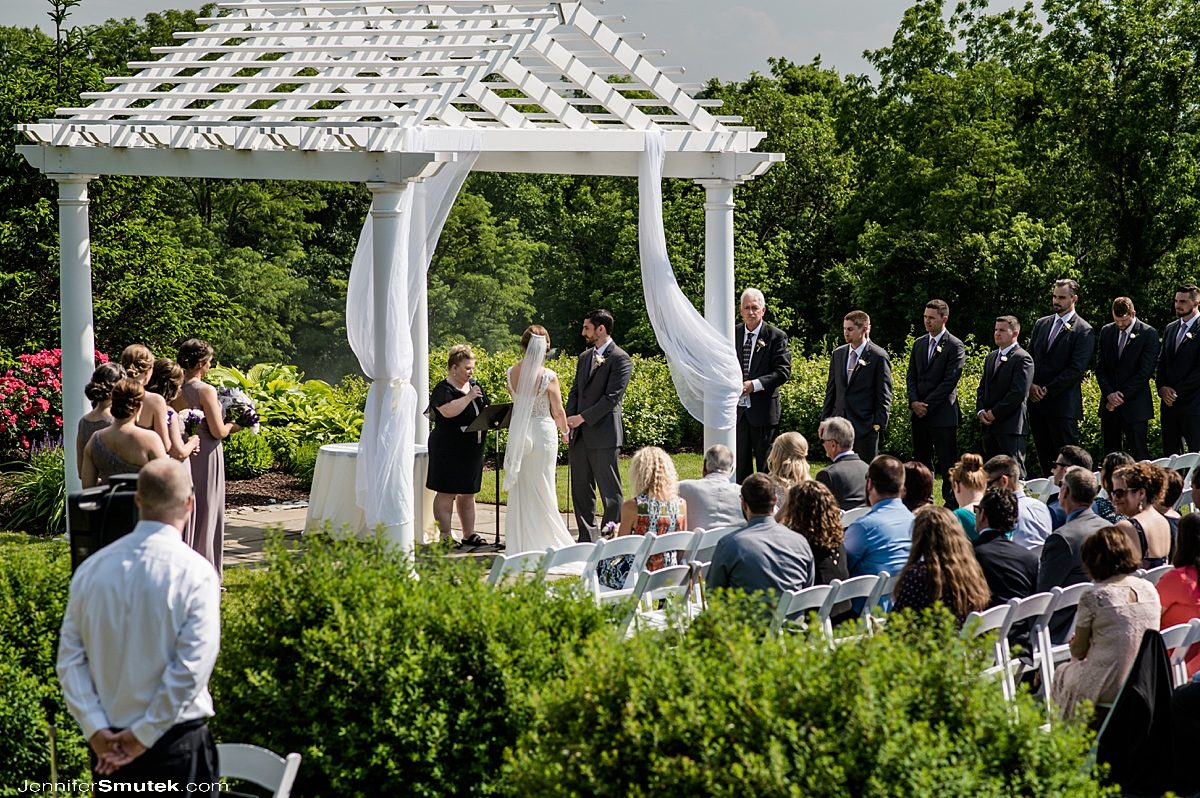 outdoor wedding ceremony Musket Ridge Golf Club Wedding