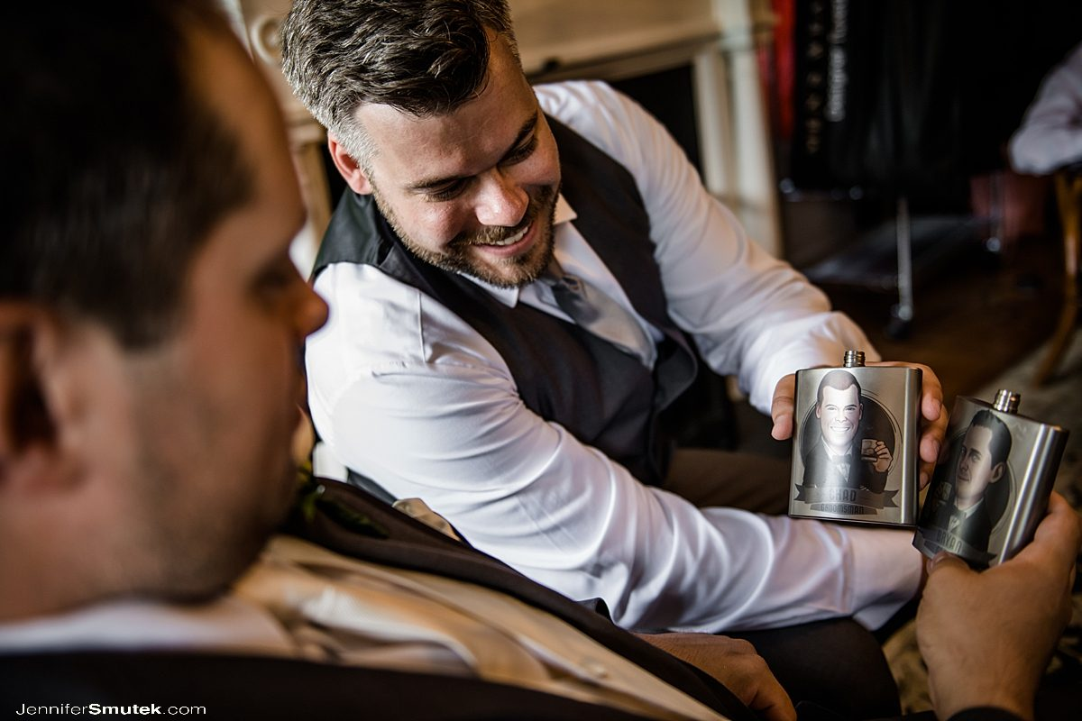 personalized groomsmen flasks with faces on them
