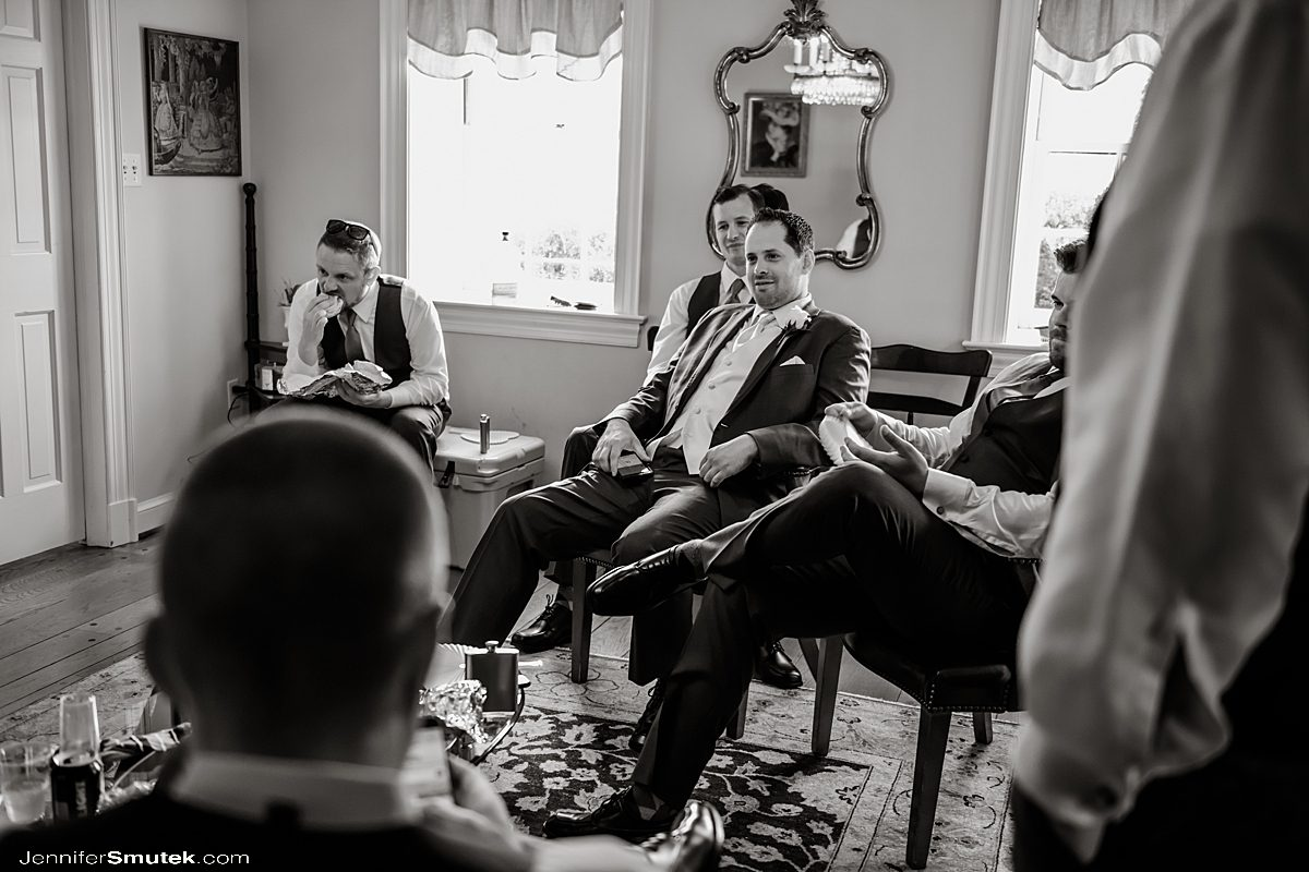 groom hanging out with guys