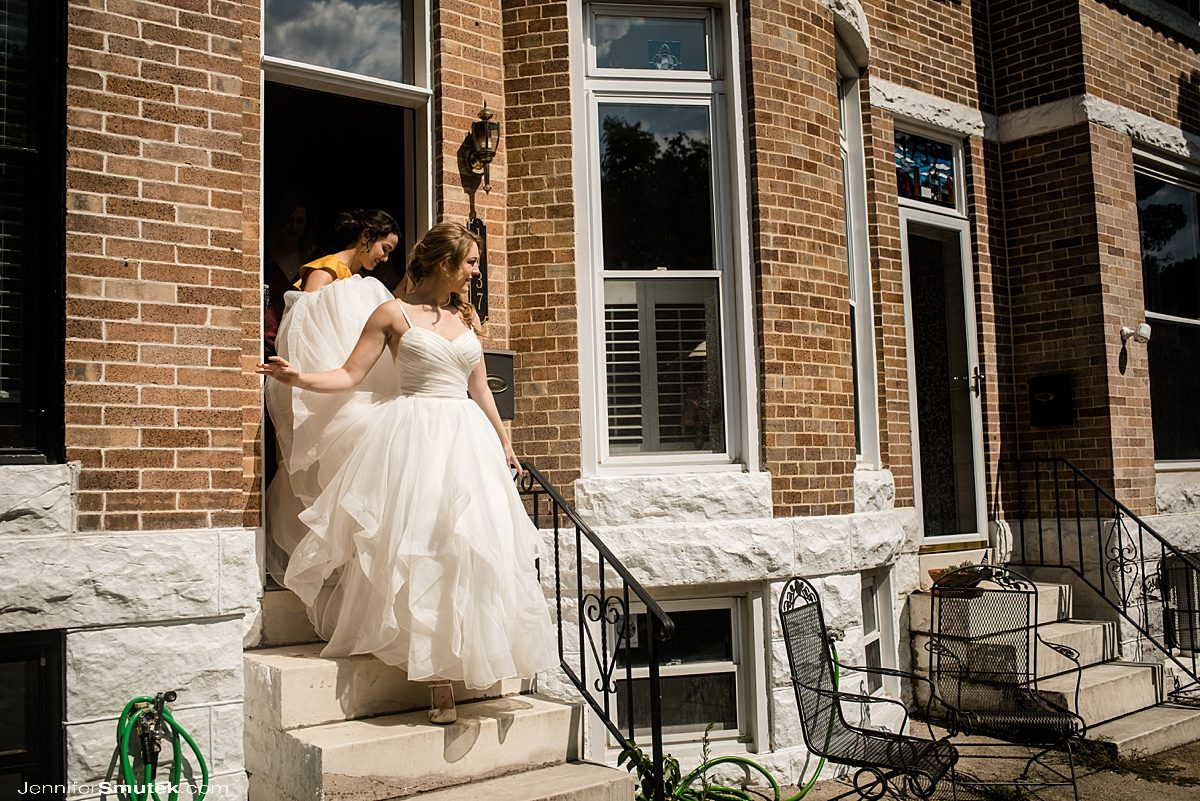 bride getting ready in baltimore row home