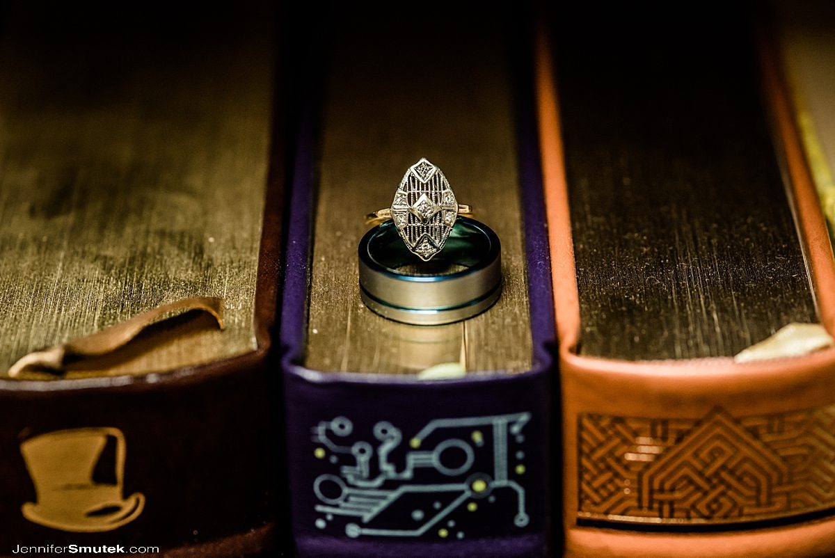 wedding rings on books
