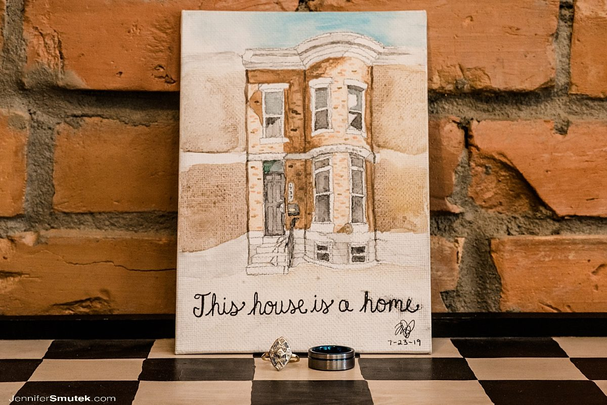 watercolor painting of baltimore row home